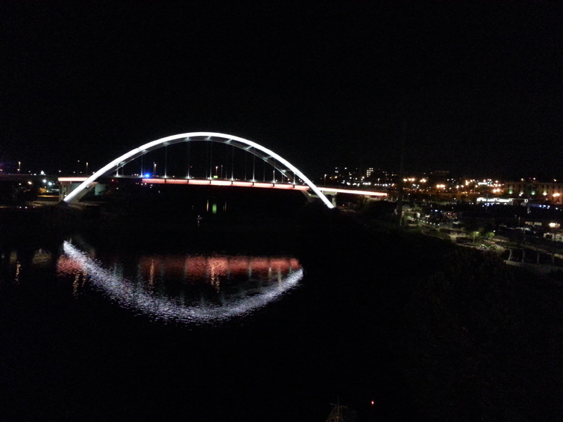 View of Korean Vets Bridge from pedestrian bridge downtown